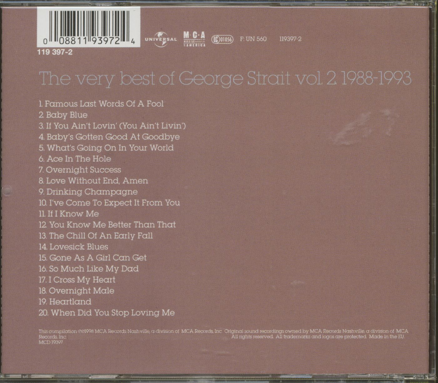George Strait Cd The Very Best Of George Strait Vol 2