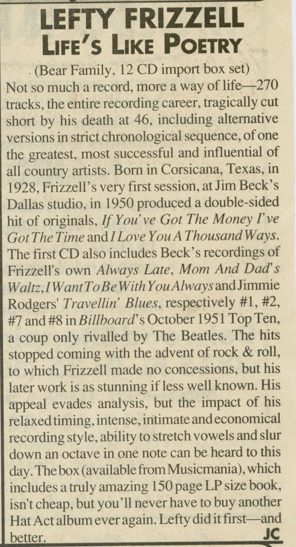 Press - Lefty Frizzell - Life's Like Poetry 12-CD-Box - Music City Texas