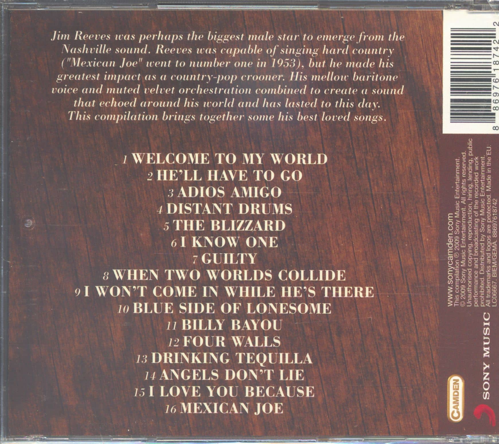Jim Reeves CD: Welcome To My World - The Best Of Jim Reeves