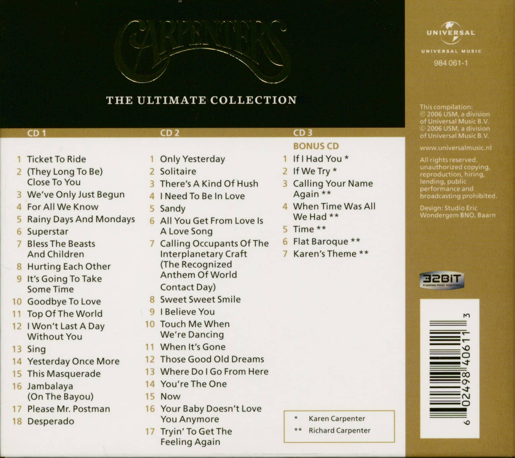 Carpenters Ultimate Collection: The Carpenters CD: The Ultimate Collection (3-CD Digipac