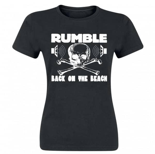 Rumble Girlie Shirt, black, white print, size M