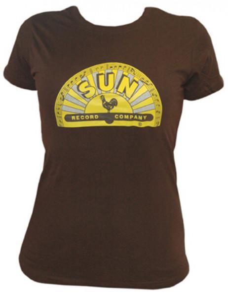 Girlie Shirt (XL) Half Logo Brown - Yellow