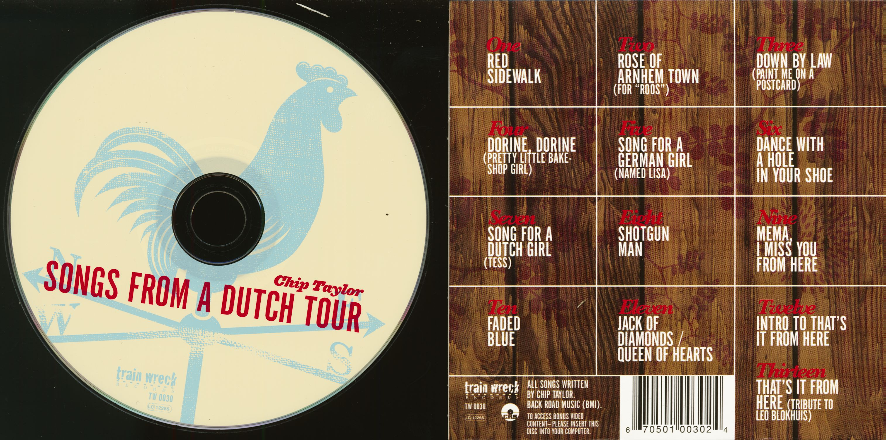 Chip Taylor Songs From A Dutch Tour (CD & Book)