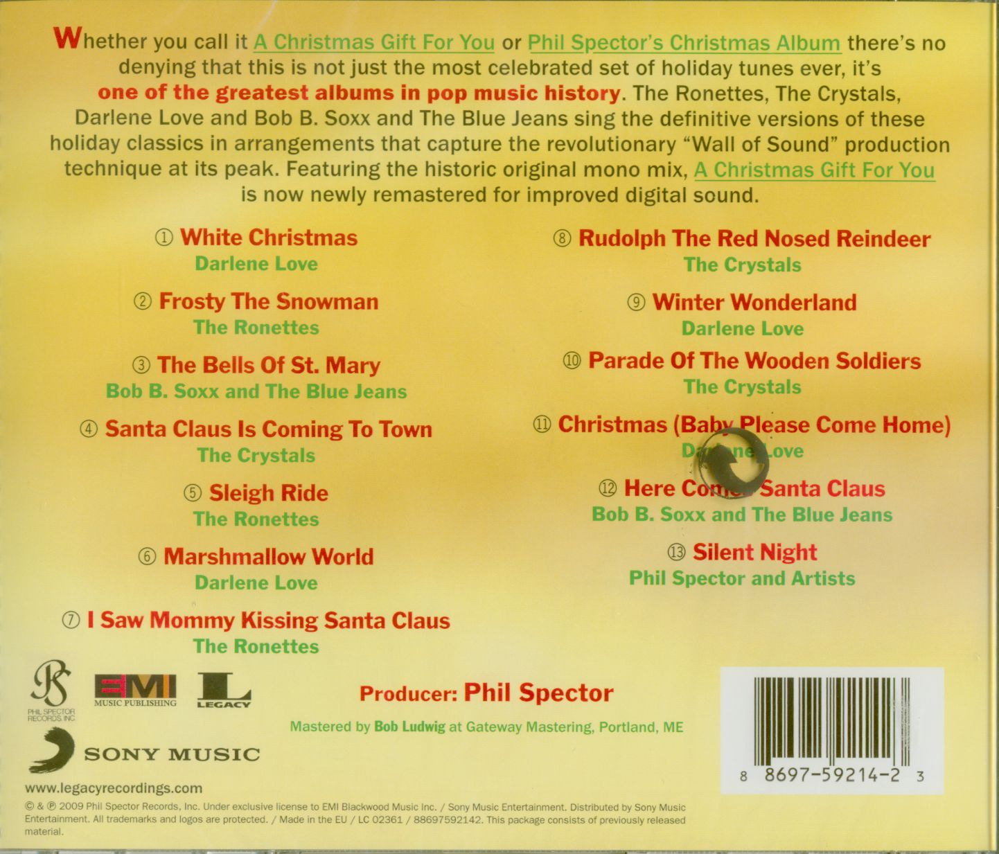 A Christmas Gift For You From Phil Spector.Various A Christmas Gift For You From Phil Spector Cd