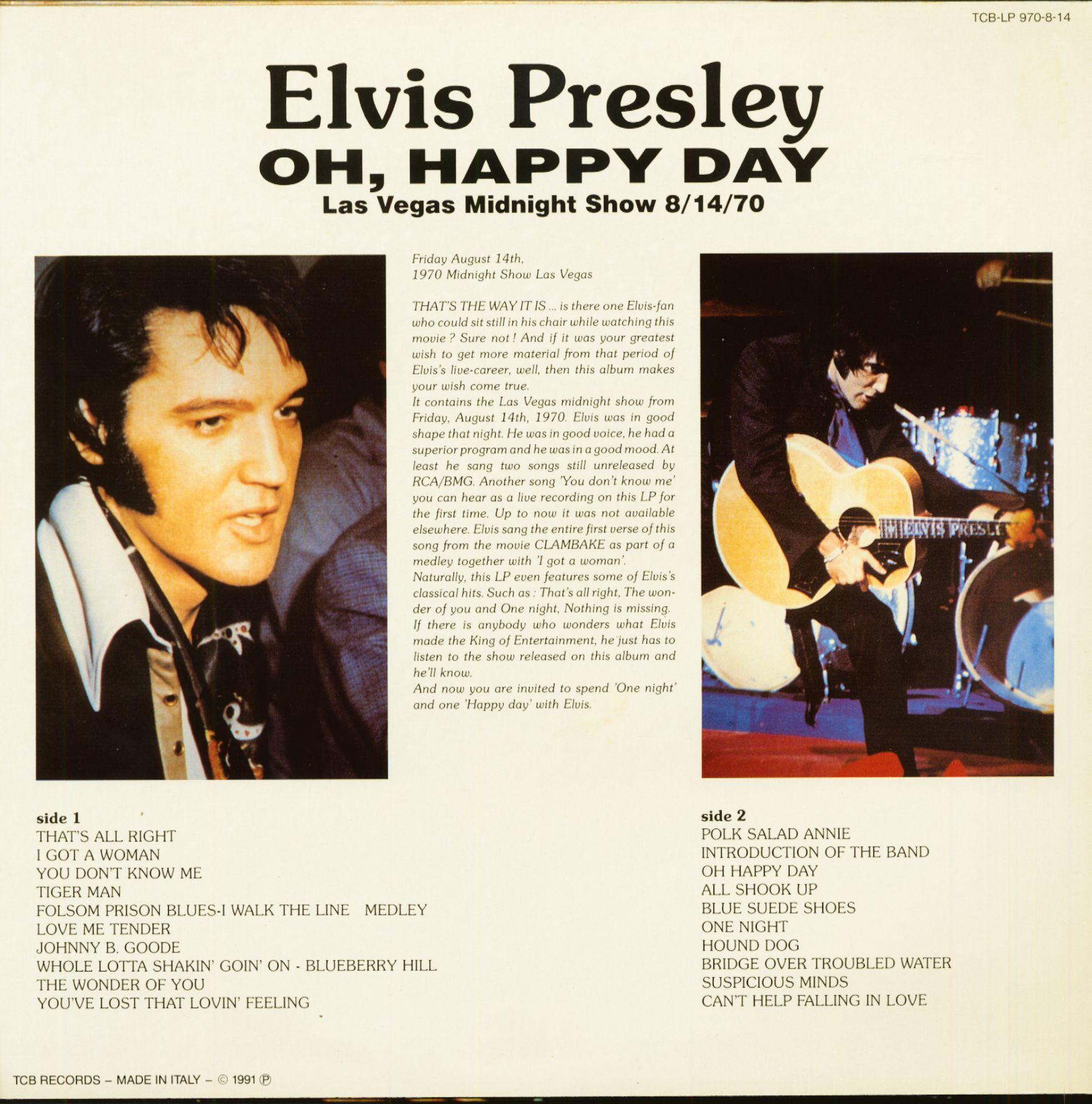 Elvis Presley LP: Oh, Happy Day - Las Vegas Midnight Show