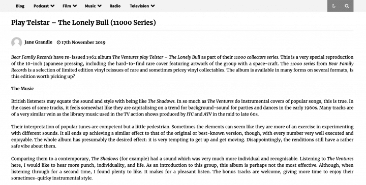 Presse-Archiv-The-Ventures-Play-Telstar-The-Lonely-Bull-oltimereviews