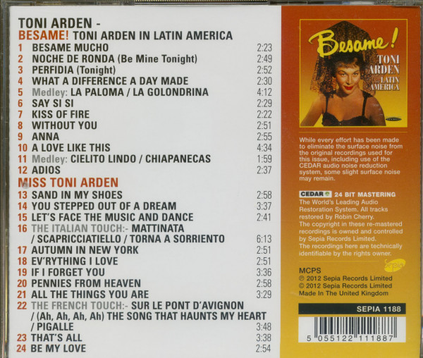 Besame - Toni Arden In Latin America (CD)