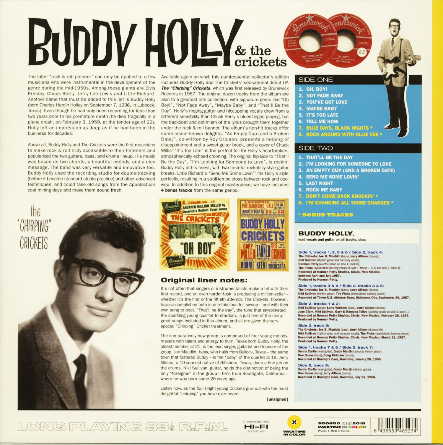 Buddy Holly Lp The Chirping Crickets Lp 180g Colored