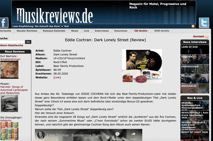 Presse-Archiv-Eddie-Cochran-Dark-Lonely-Street-Commemorative-Album-musikreviews