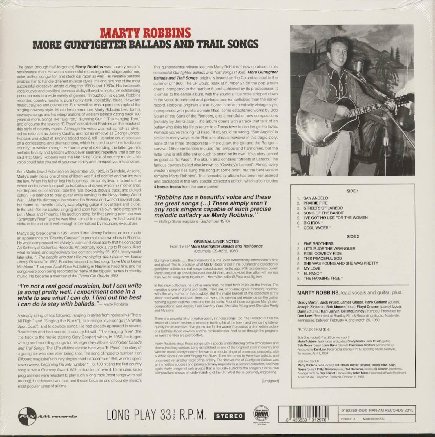 Marty Robbins More Gunfighter Ballads And Trail Songs (LP, 180g Vinyl)
