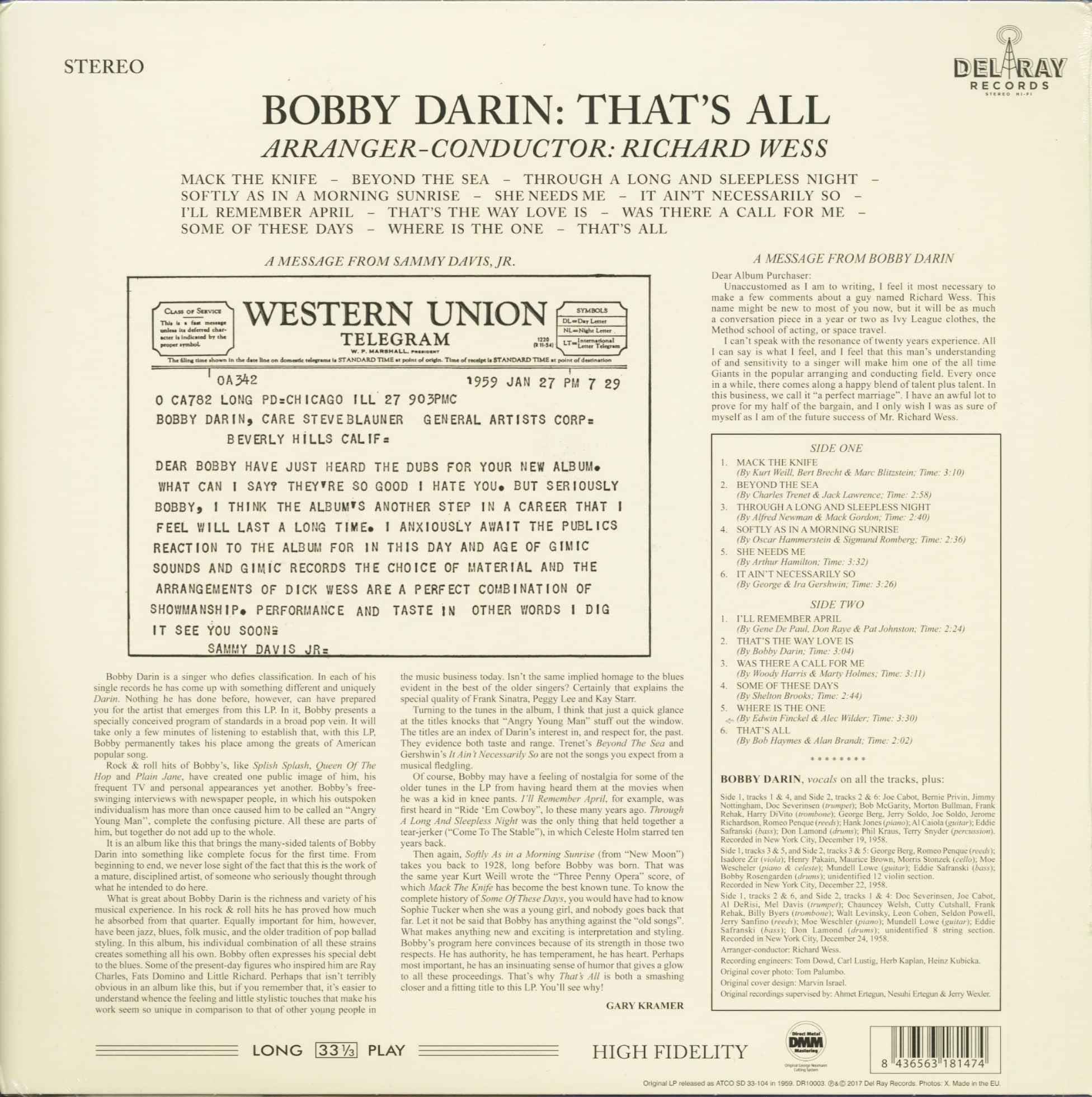 Bobby Darin LP: That's All (LP, 180g Vinyl, Ltd.) - Bear Family ...