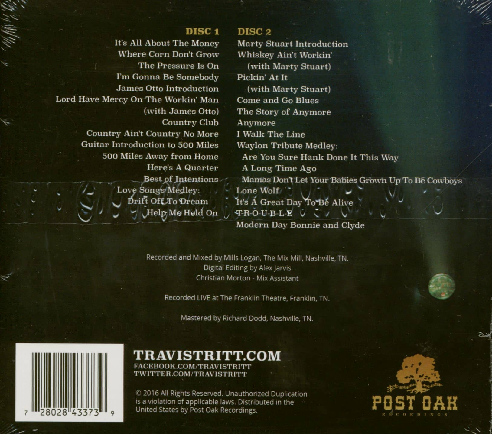 Travis Tritt Cd A Man And His Guitar Live From The