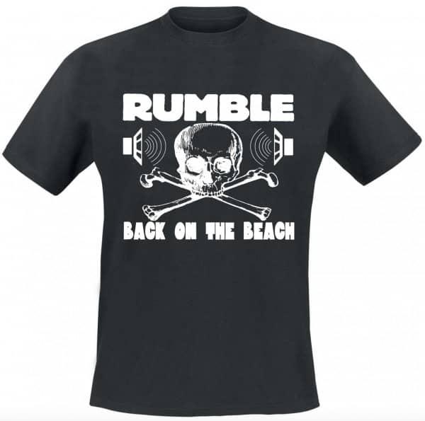 Rumble On The Beach Shirt, black, white print, size XL