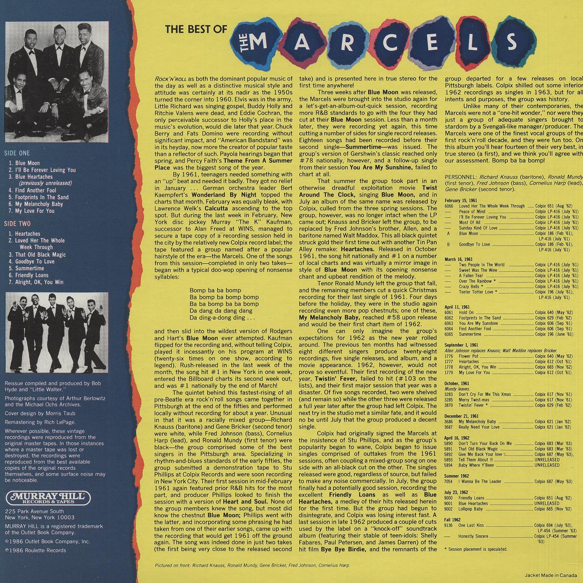 The Marcels Lp The Best Of The Marcels Vinyl Lp Bear