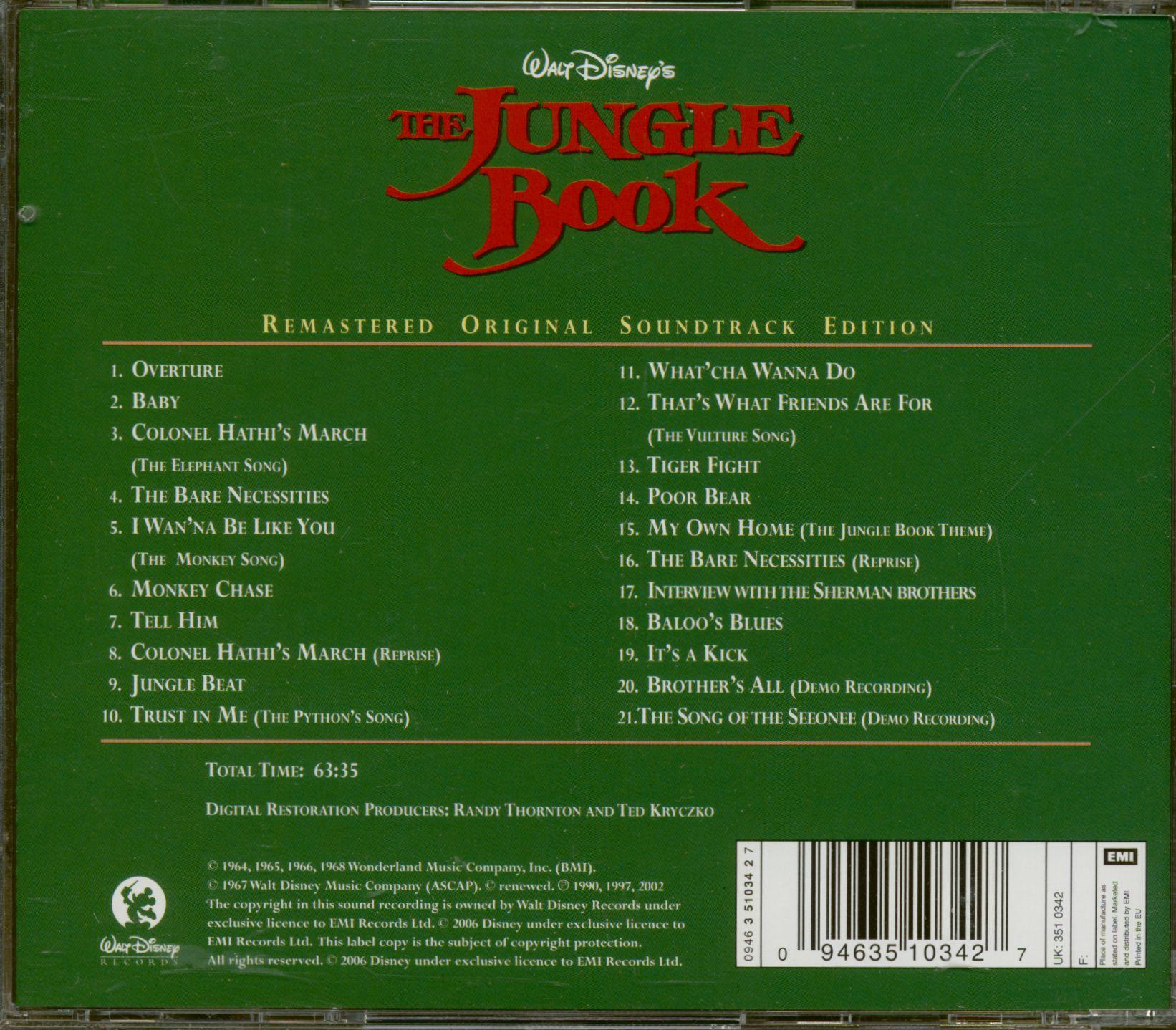 Walt Disney Cd The Jungle Book Original Soundtrack Cd Bear