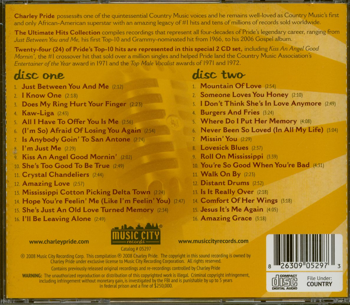 Charley Pride Cd The Ultimate Hits Collection 2 Cd
