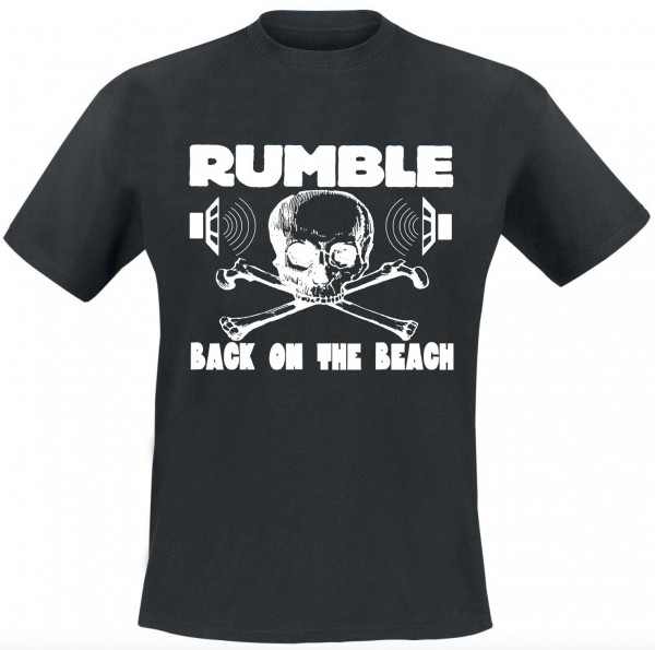 Rumble On The Beach Shirt, black, white print, size S