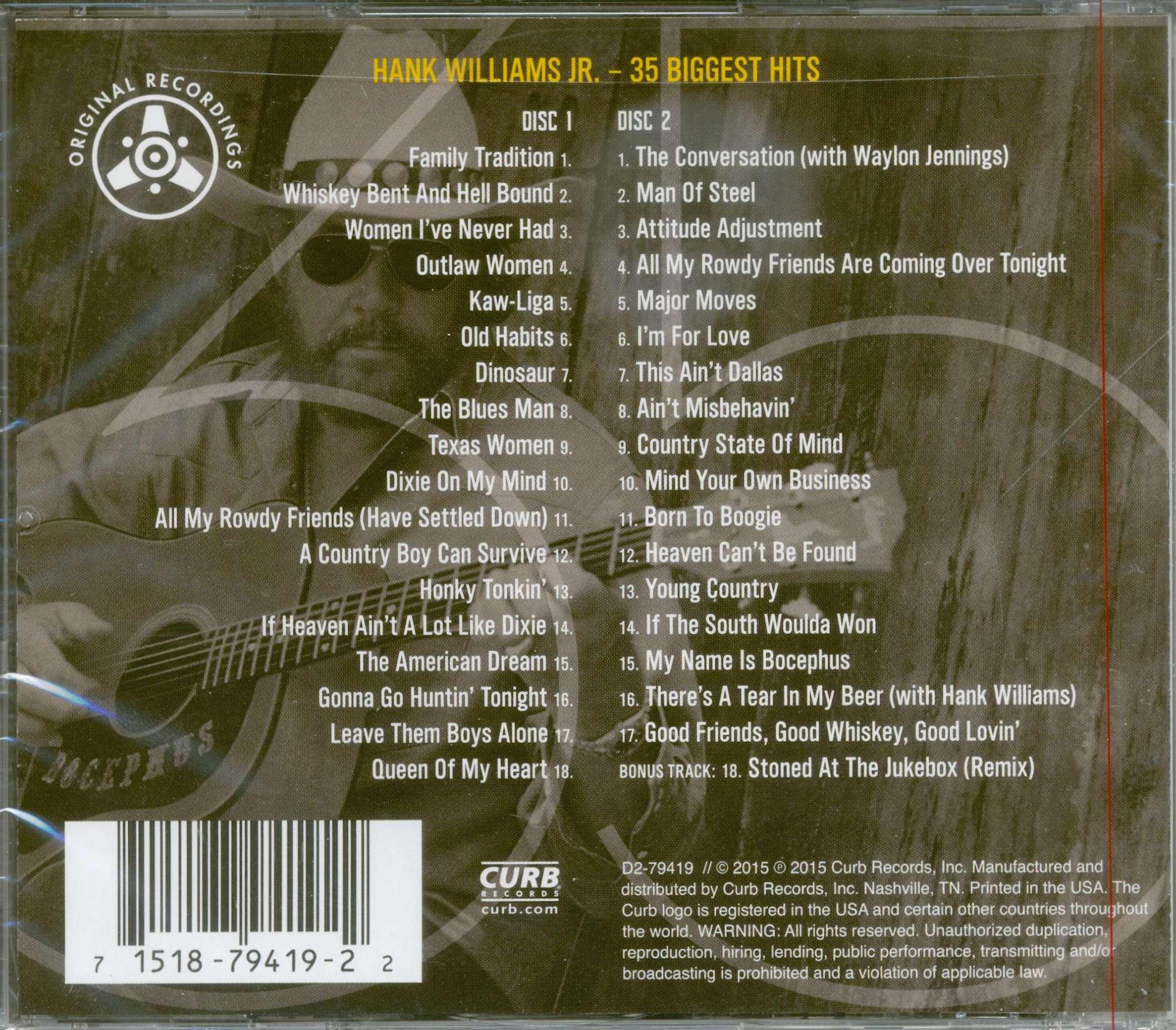 hank williams jr cd 35 biggest hits 2 cd bear family records