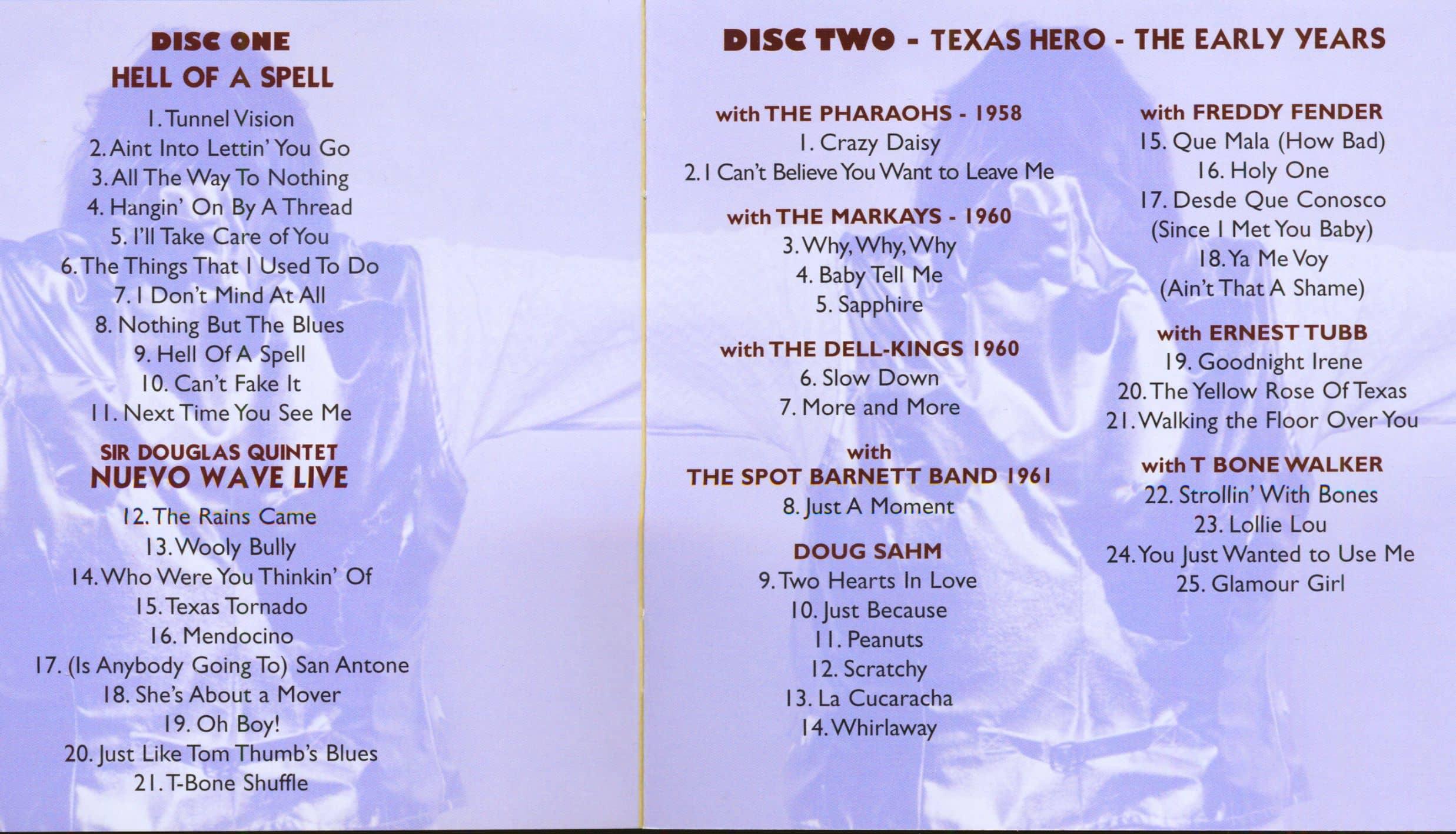Doug Sahm Cd Hell Of A Spell Nuevo Wave Live Texas Hero 2 Cd