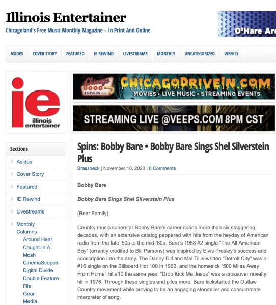 Presse-Archive-Bobby-Bare-Bobby-Bare-Sings-Shel-Silverstein-plus-Illinois-Entertainer