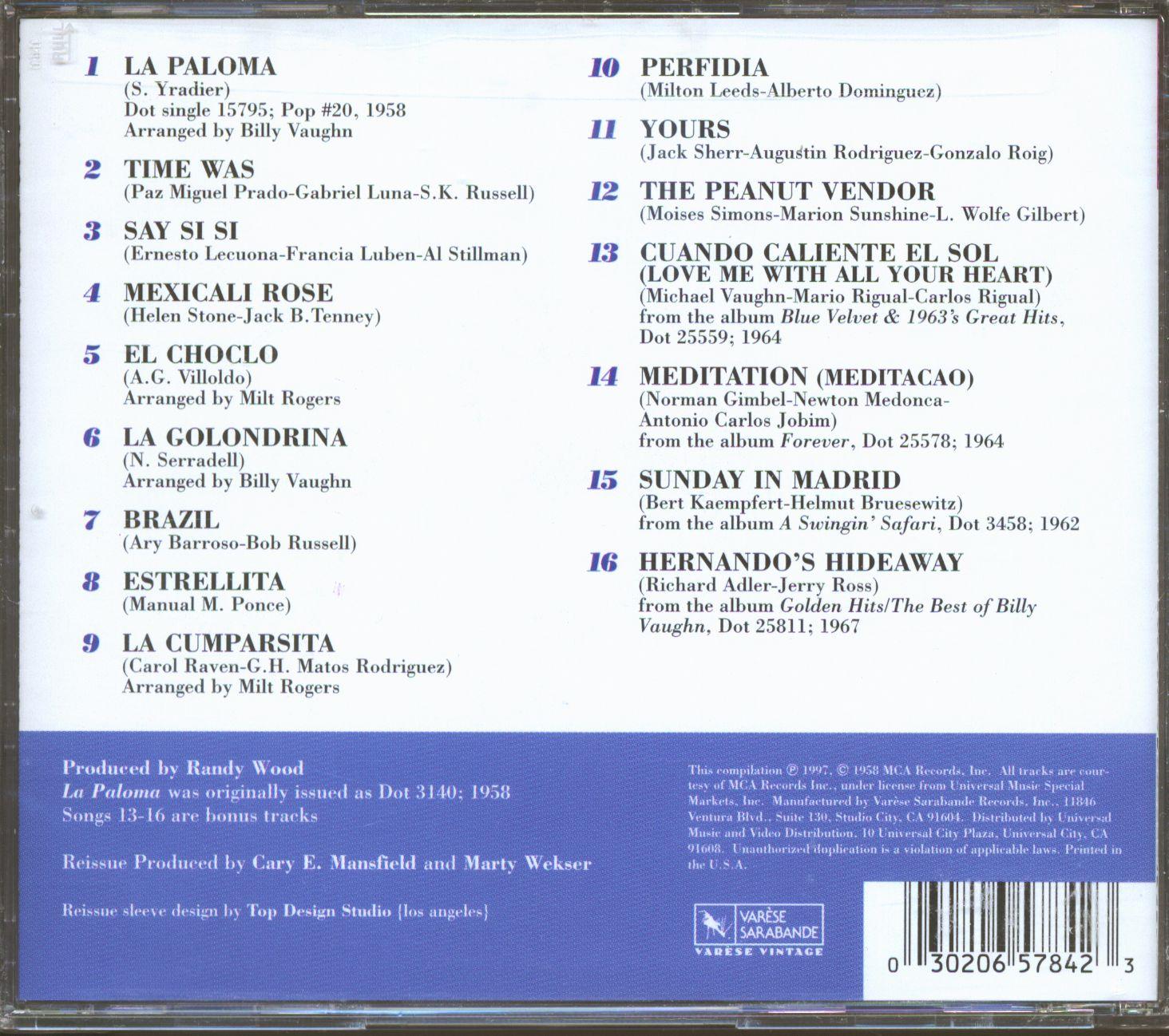 Billy Vaughn & His Orchestra La Paloma - Billy Vaughn Goes Latin (CD)