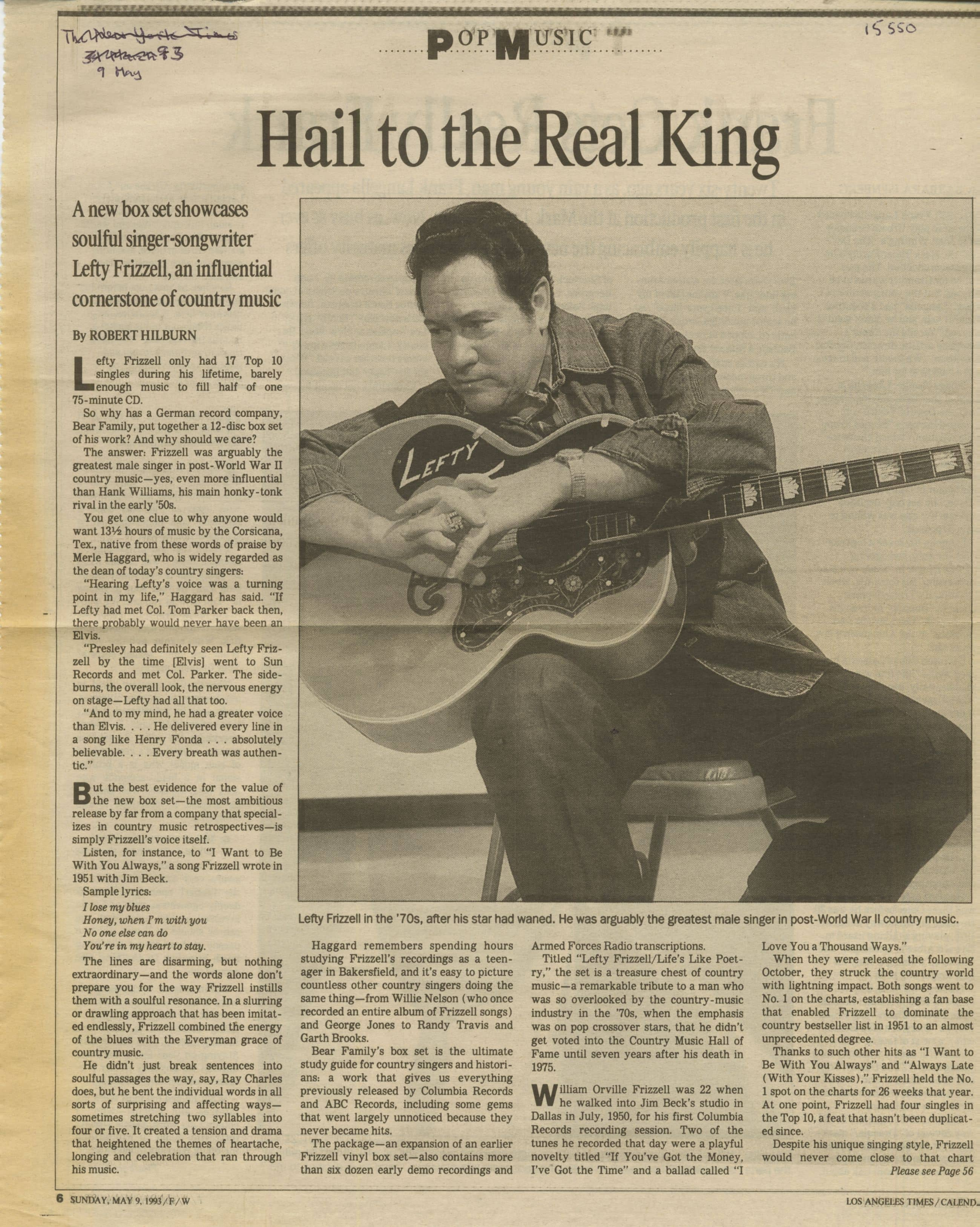 Press Archive - Lefty Frizzell - Life\'s Like Poetry 12-CD-Box   Bear ...