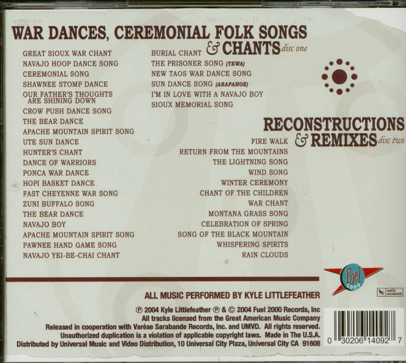 Kyle Littlefeather The Unconquered Spirit - Chants & Traces Of The Native  American Indian (2-CD)