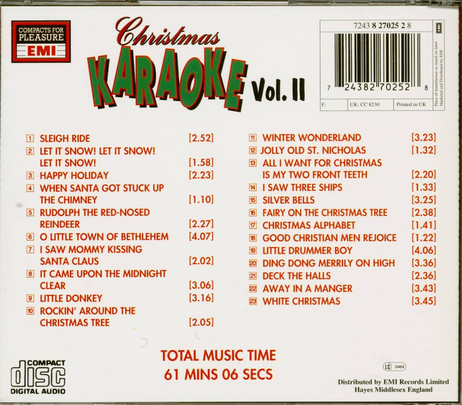 Christmas Karaoke Cd.Various Christmas Karaoke Vol 2 Cd