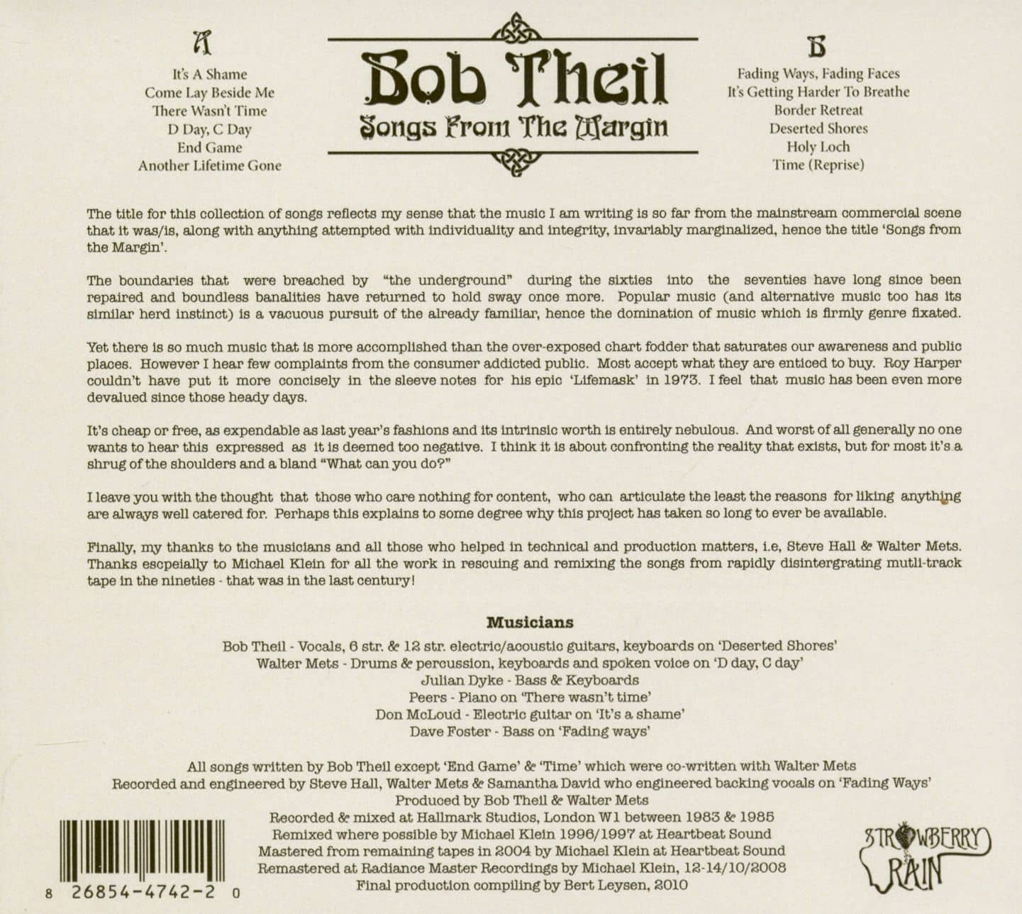Bob Theil Songs From The Margin (CD)