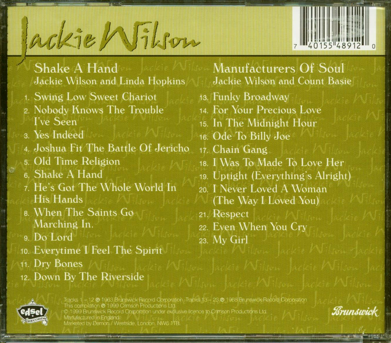 Jackie Wilson CD: Shake A Hand - Manufacturers Of Soul (CD) - Bear Family Records