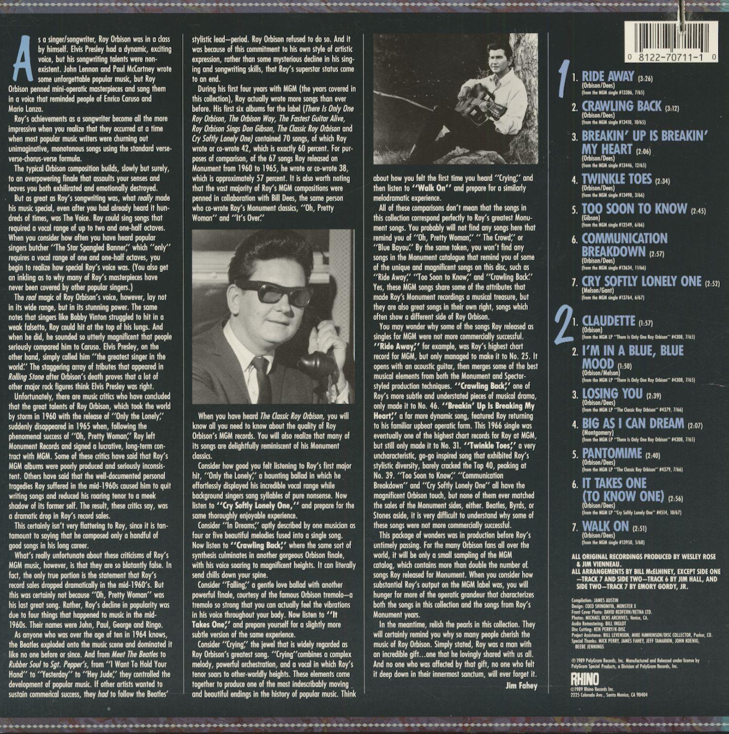 963576e15628 Roy Orbison LP  The Classic Roy Orbison 1965-68 (LP) - Bear Family ...