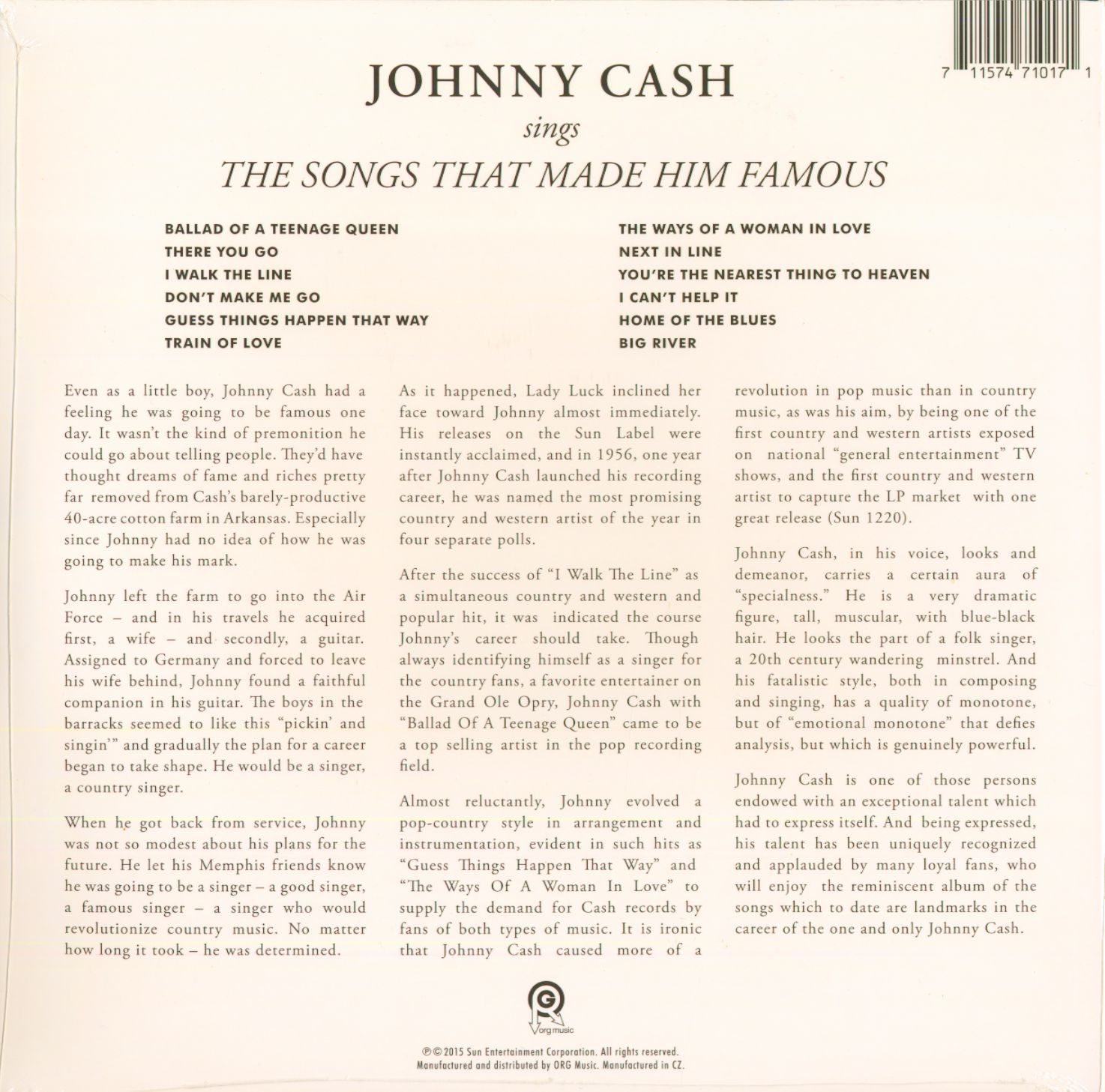 Awe Inspiring Johnny Cash Lp Sings The Songs That Made Him Famous Lp Bear Wiring Cloud Oideiuggs Outletorg