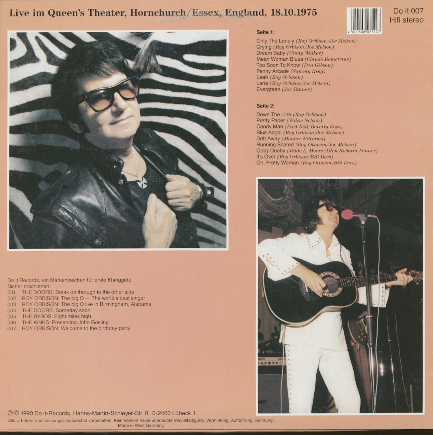 Roy Orbison Welcome To My Birthday Party - England 1975 (LP)
