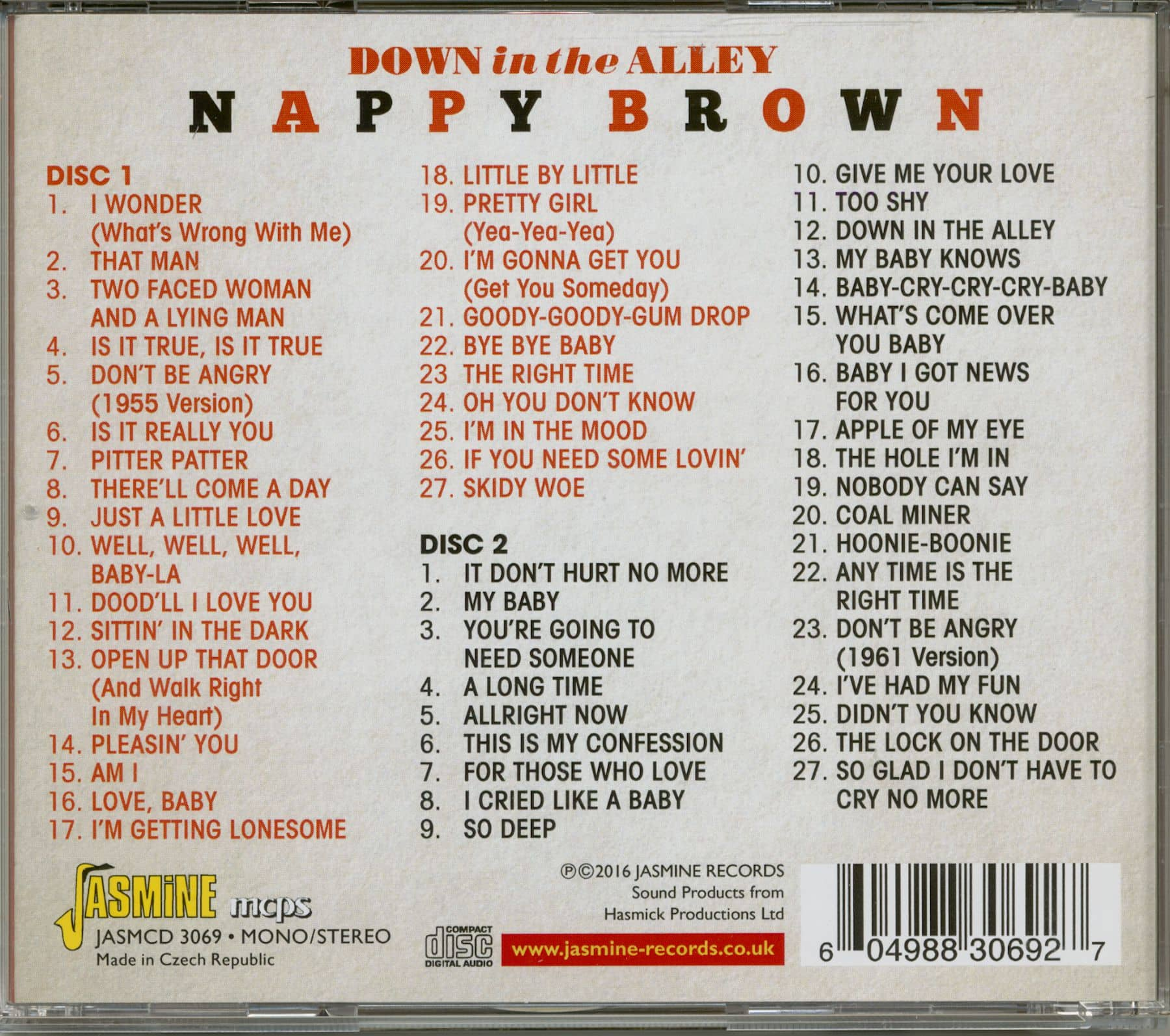 Nappy Brown Down In The Alley - The Comple Savoy Singles (2-CD)