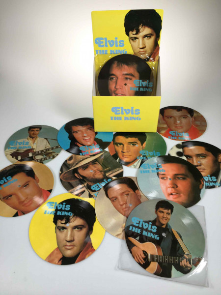 Elvis The King - 12 Picture Disc Set - 12 Soundcards 45rpm & Display