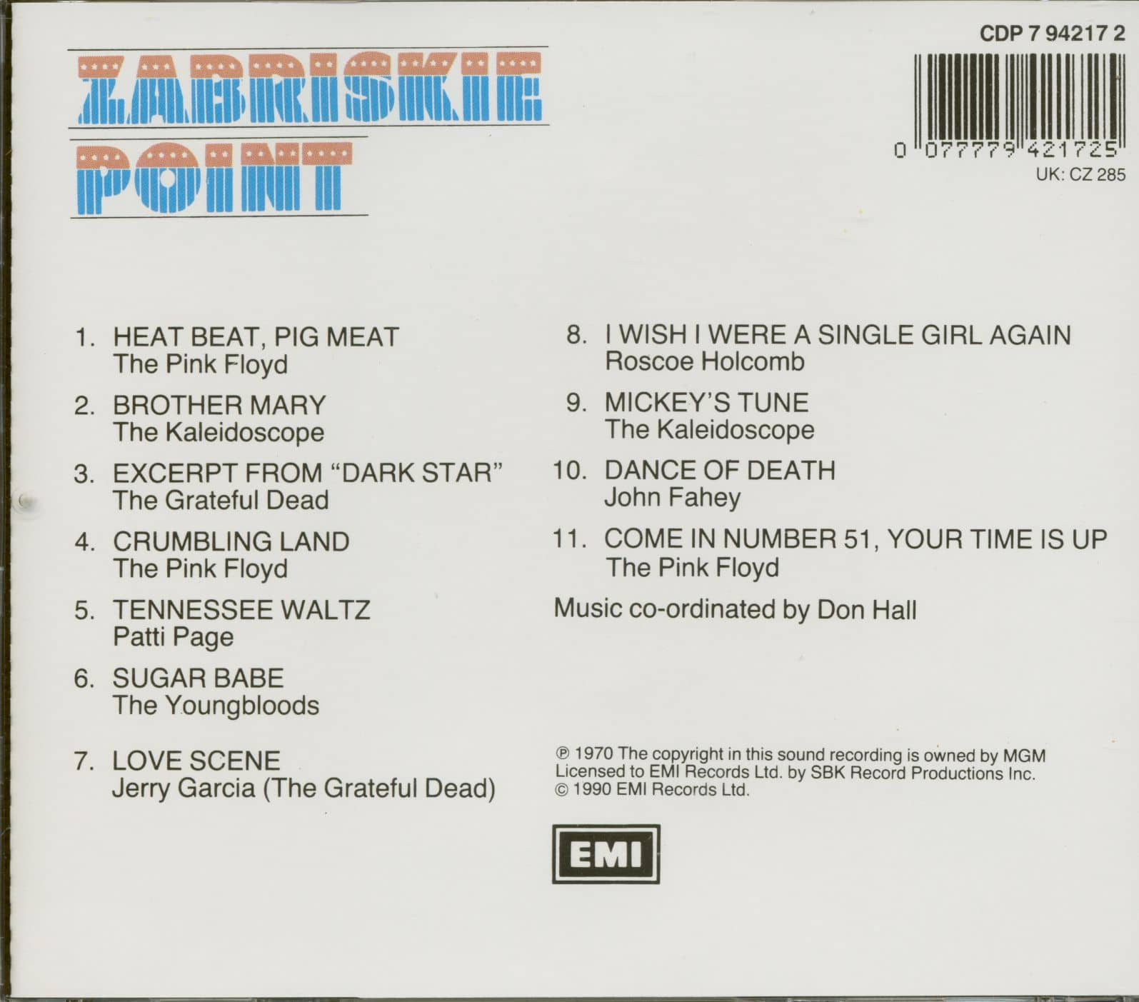 Various Cd Zabriskie Point Soundtrack Cd Bear