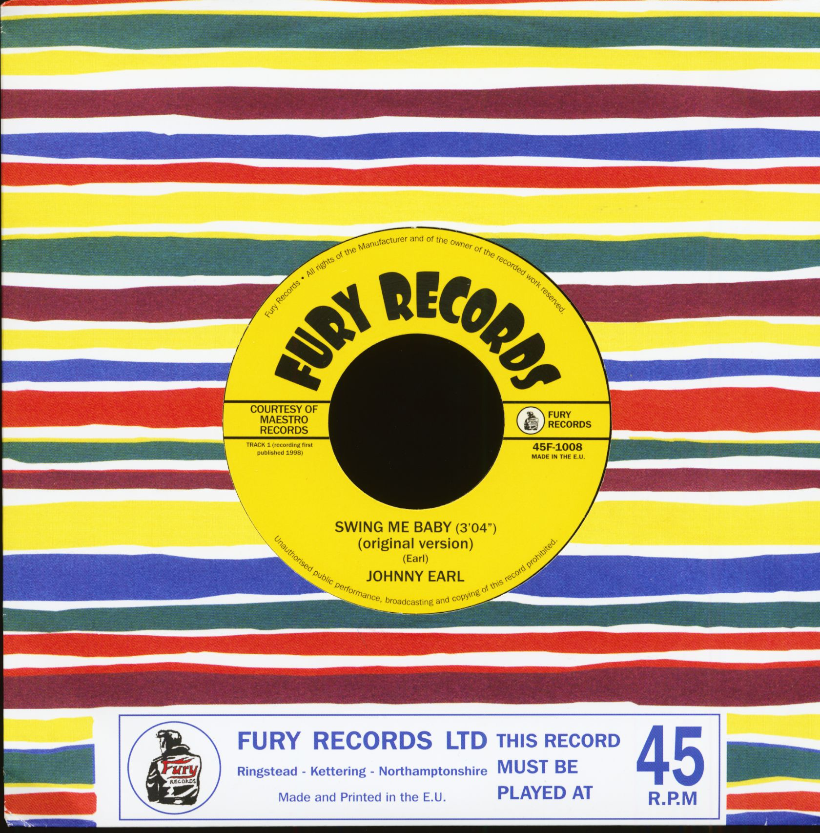 Johnny Earl Swing Me Baby (7inch, 45rpm)