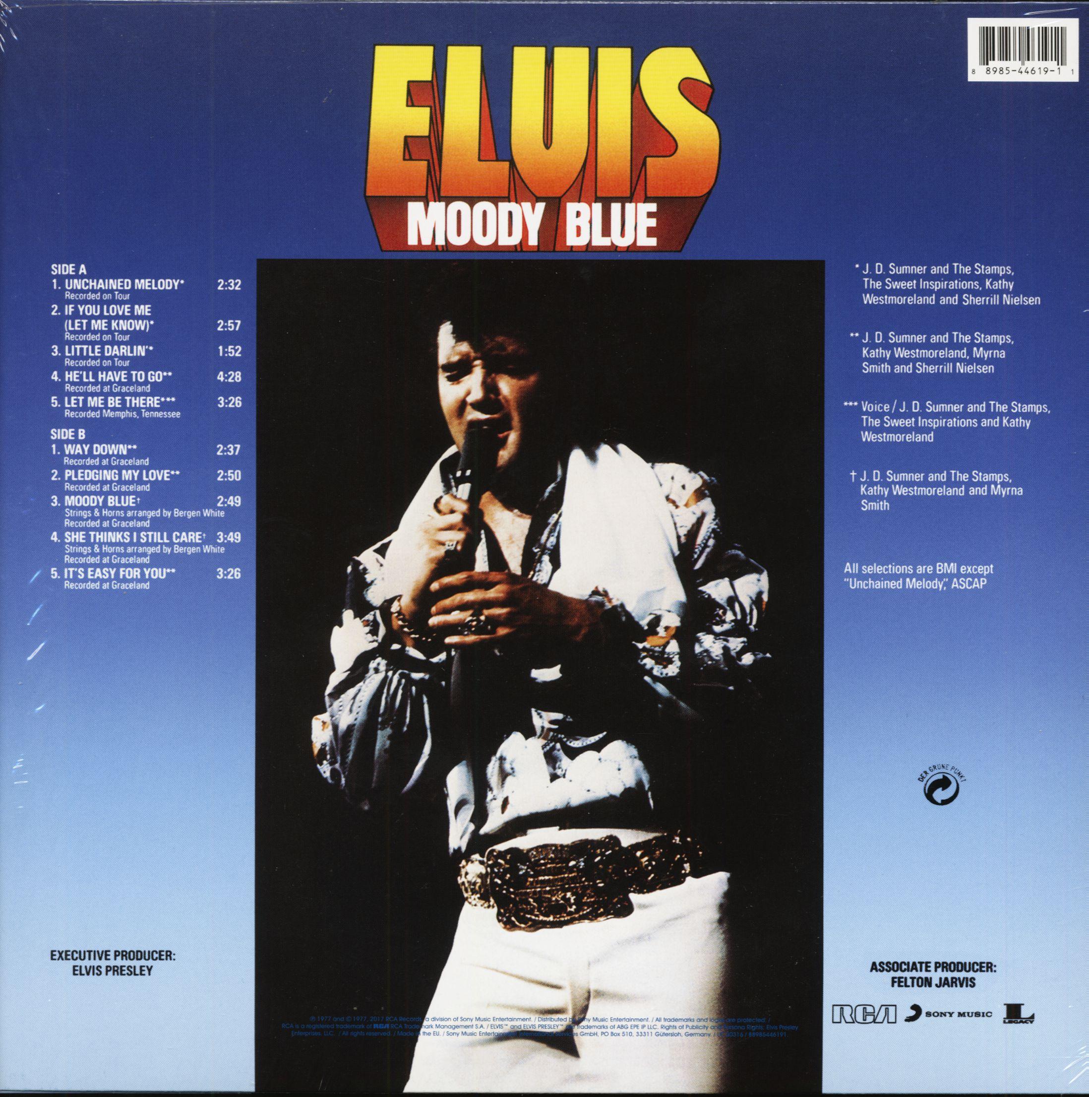 Elvis Presley Lp Moody Blue Lp Clear Blue Vinyl Bear