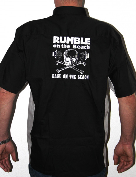 Rumble Worker Shirt, black, white print, size L