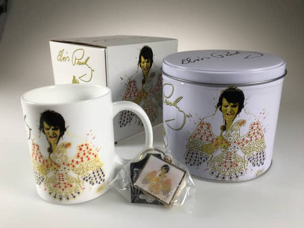 Elvis Presley - Porcelain Mug & Metal Keychain Gift Set in Presentation Tin Boxset
