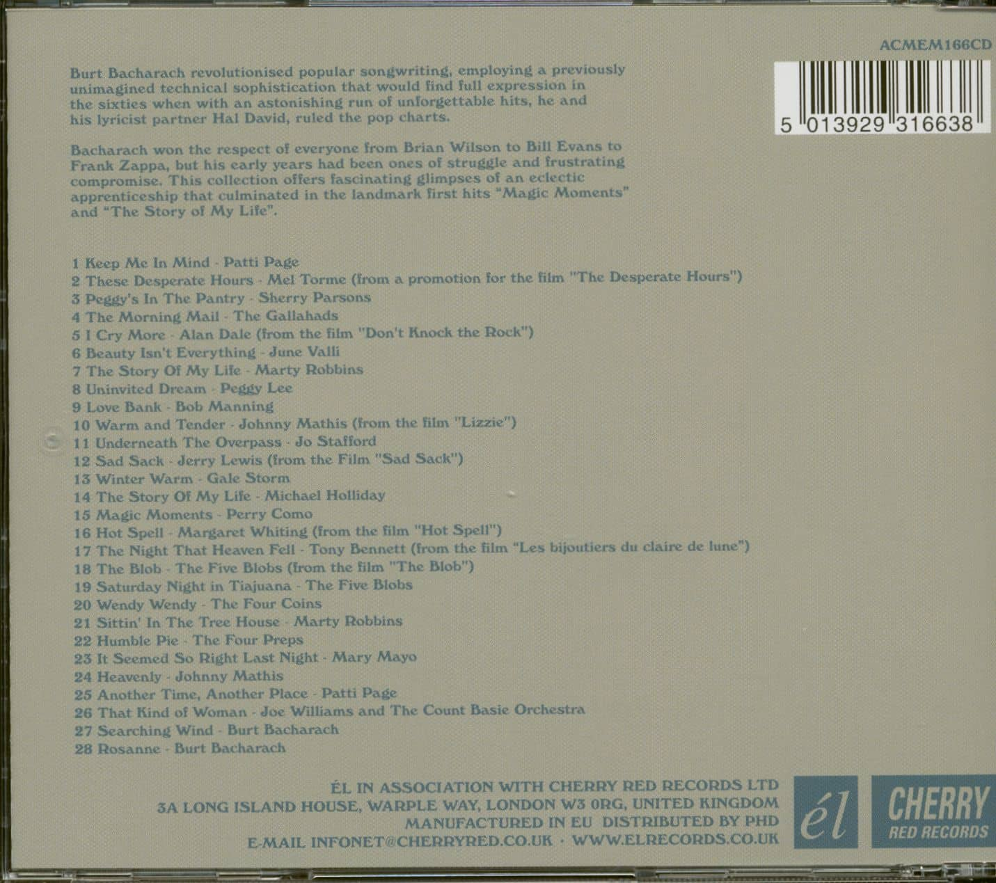 Various Burt Bacharach - The First Book Of Songs 1954-58 (CD)
