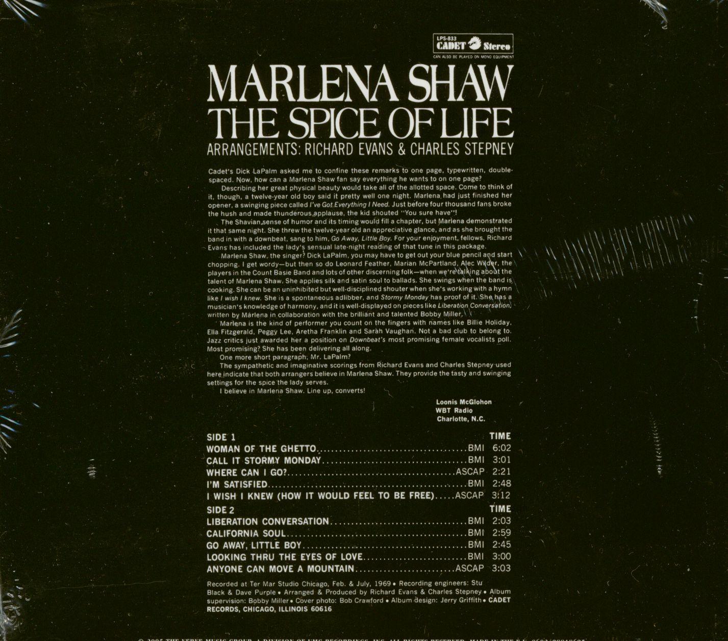 Marlena Shaw Cd The Spice Of Life Cd Bear Family Records