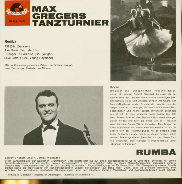 Max Gregers Tanzturnier - Rumba (7inch, 45rpm, EP, PS)