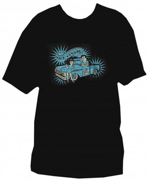 T-Shirt XL - Bird Doggin (black, blue print)
