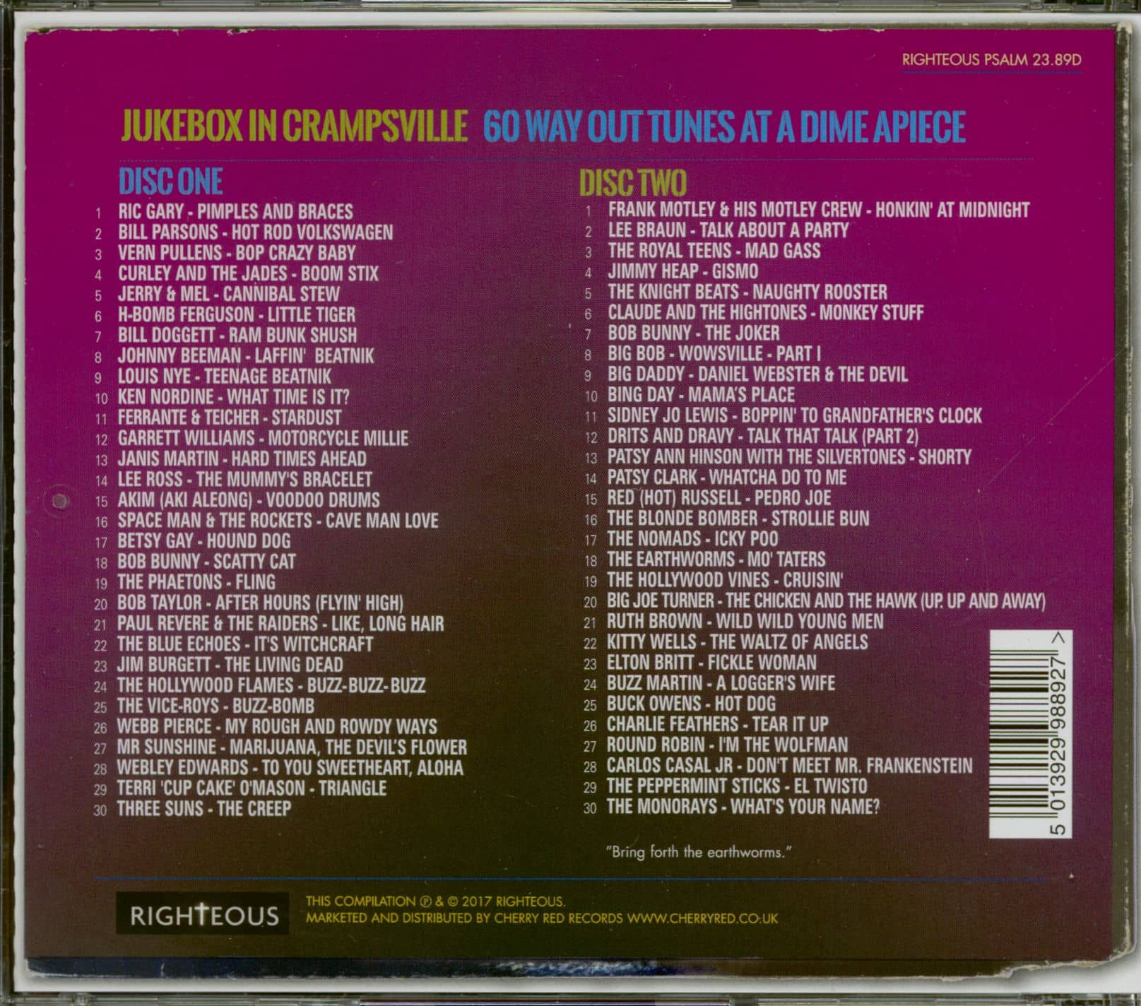Various Jukebox In Crampsville - 60 Way Out Tunes At A Dime A Piece (2-CD)