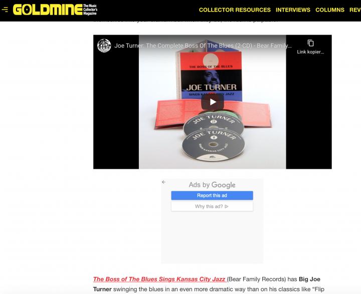 Press-Archive-Big-Joe-Turner-The-Complete-Boss-Of-The-Blues-2-CD-Goldmine