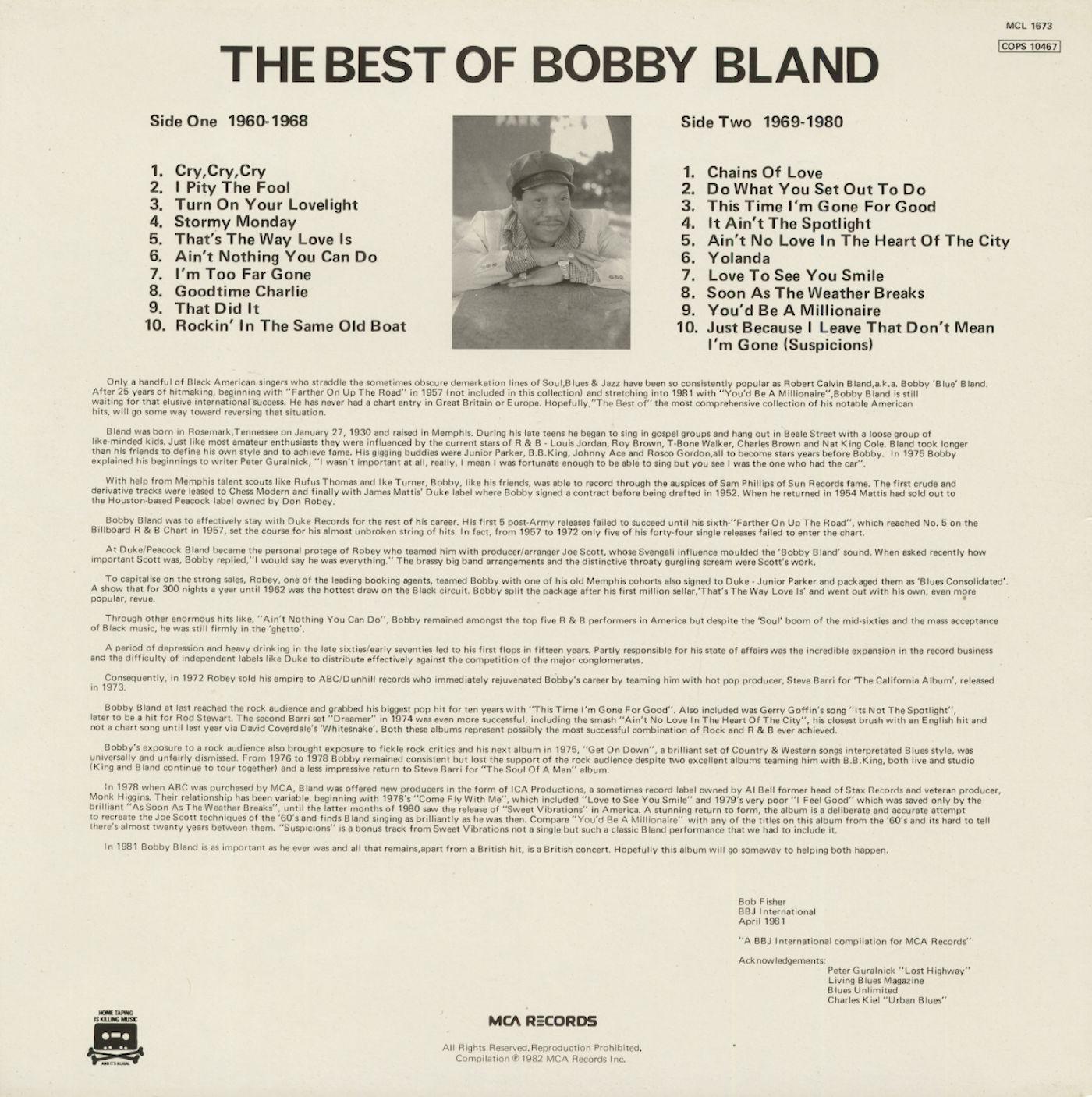 Bobby Blue Bland LP: The Best Of Bobby Bland (LP) - Bear Family Records