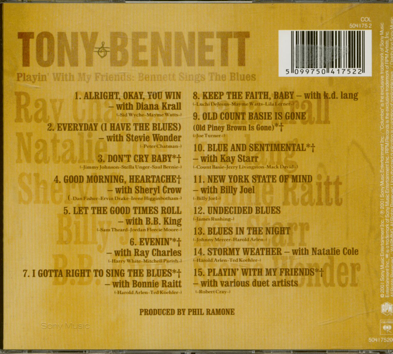 Tony Bennett & Friends CD: Playing With My Friends - Sings The Blues